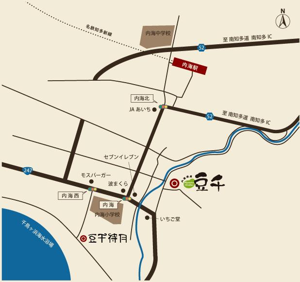 愛知県・南知多町 豆千本館へのMAP